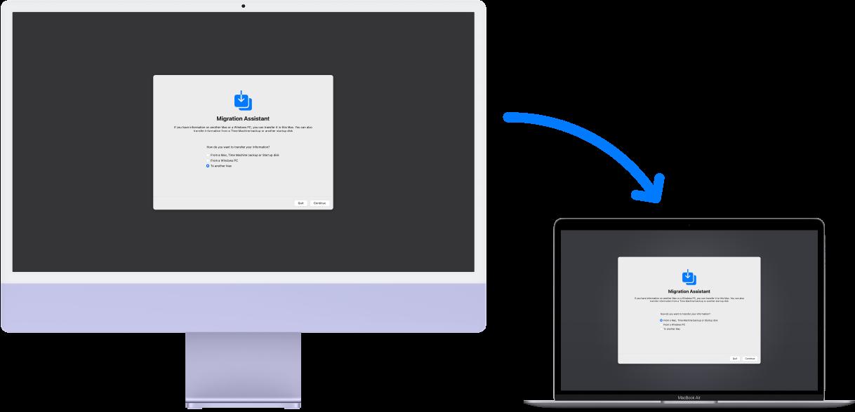 Um iMac e um MacBook Air, ambos mostrando a tela do Assistente de Migração. Uma seta que sai do iMac para o MacBook Pro indica a transferência de dados de um para o outro.