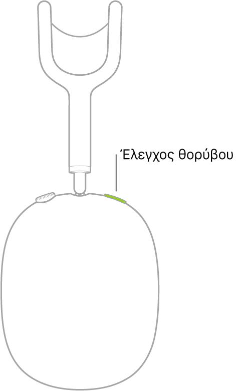 Μια εικόνα που δείχνει τη θέση του κουμπιού ελέγχου θορύβου στο δεξί ακουστικό των AirPods Max.