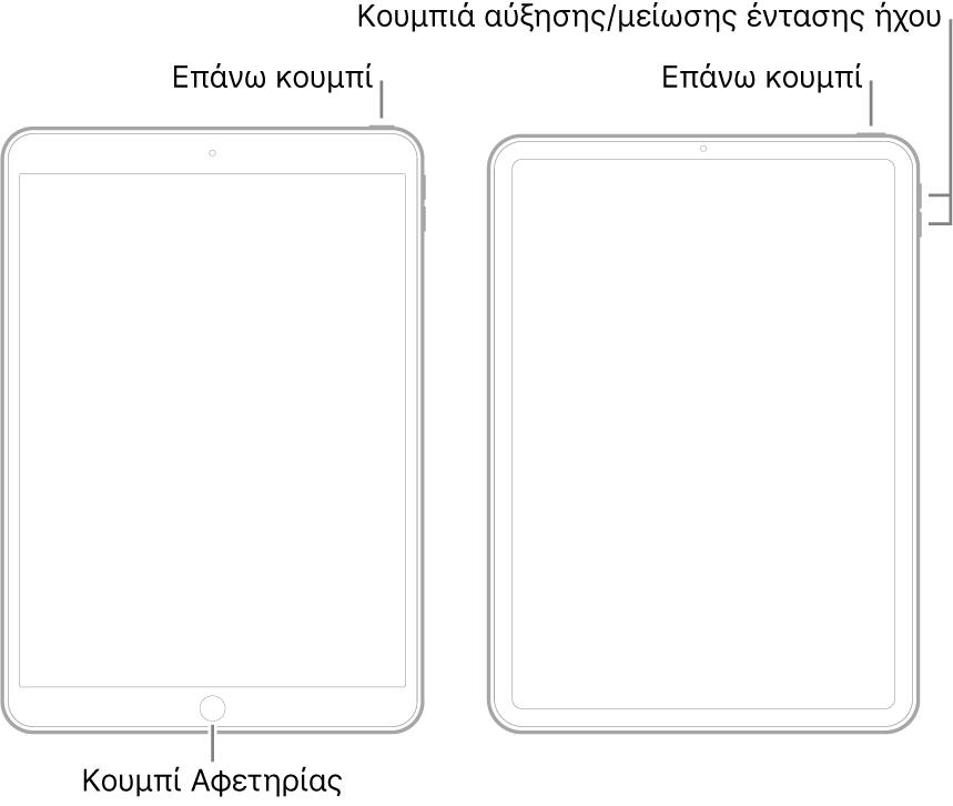 Εικόνες δύο διαφορετικών μοντέλων iPad με τις οθόνες τους στραμμένες προς τα πάνω. Η τέρμα αριστερά εικόνα δείχνει ένα μοντέλο με κουμπί Αφετηρίας στο κάτω μέρος της συσκευής και ένα πάνω κουμπί στην πάνω δεξιά πλευρά της συσκευής. Η τέρμα δεξιά εικόνα δείχνει ένα μοντέλο χωρίς κουμπί Αφετηρίας. Σε αυτήν τη συσκευή, τα κουμπιά αύξησης και μείωσης της έντασης ήχου βρίσκονται στην δεξιά πλευρά της συσκευής κοντά στο πάνω μέρος, και ένα πάνω κουμπί βρίσκεται στην πάνω δεξιά πλευρά της συσκευής.