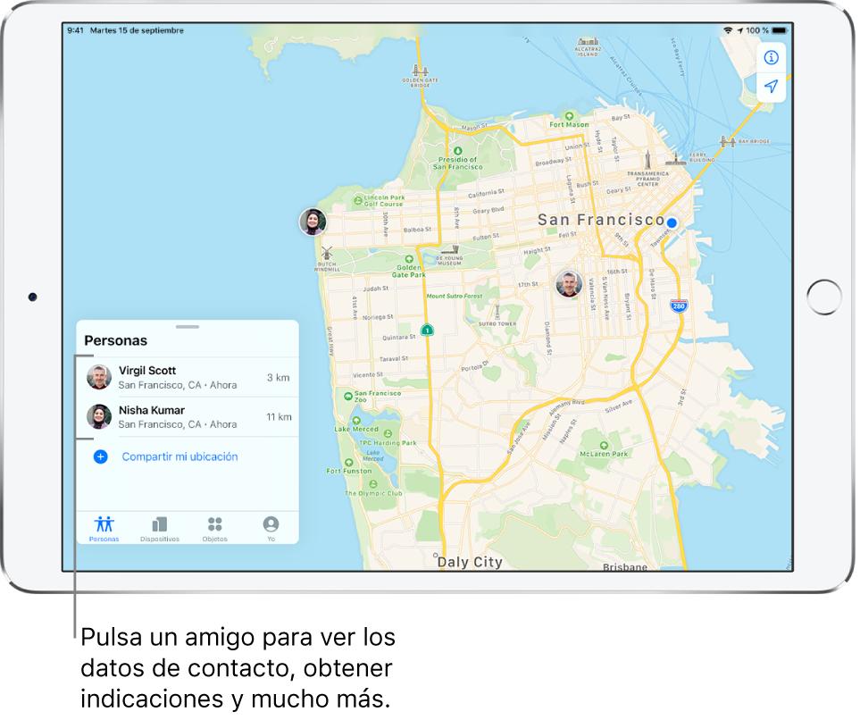 Pantalla Buscar abierta en la pestaña Personas. Hay dos amigos en la lista Personas: Virgil Scott y Nisha Kumar. Sus ubicaciones se muestran en un mapa de San Francisco.