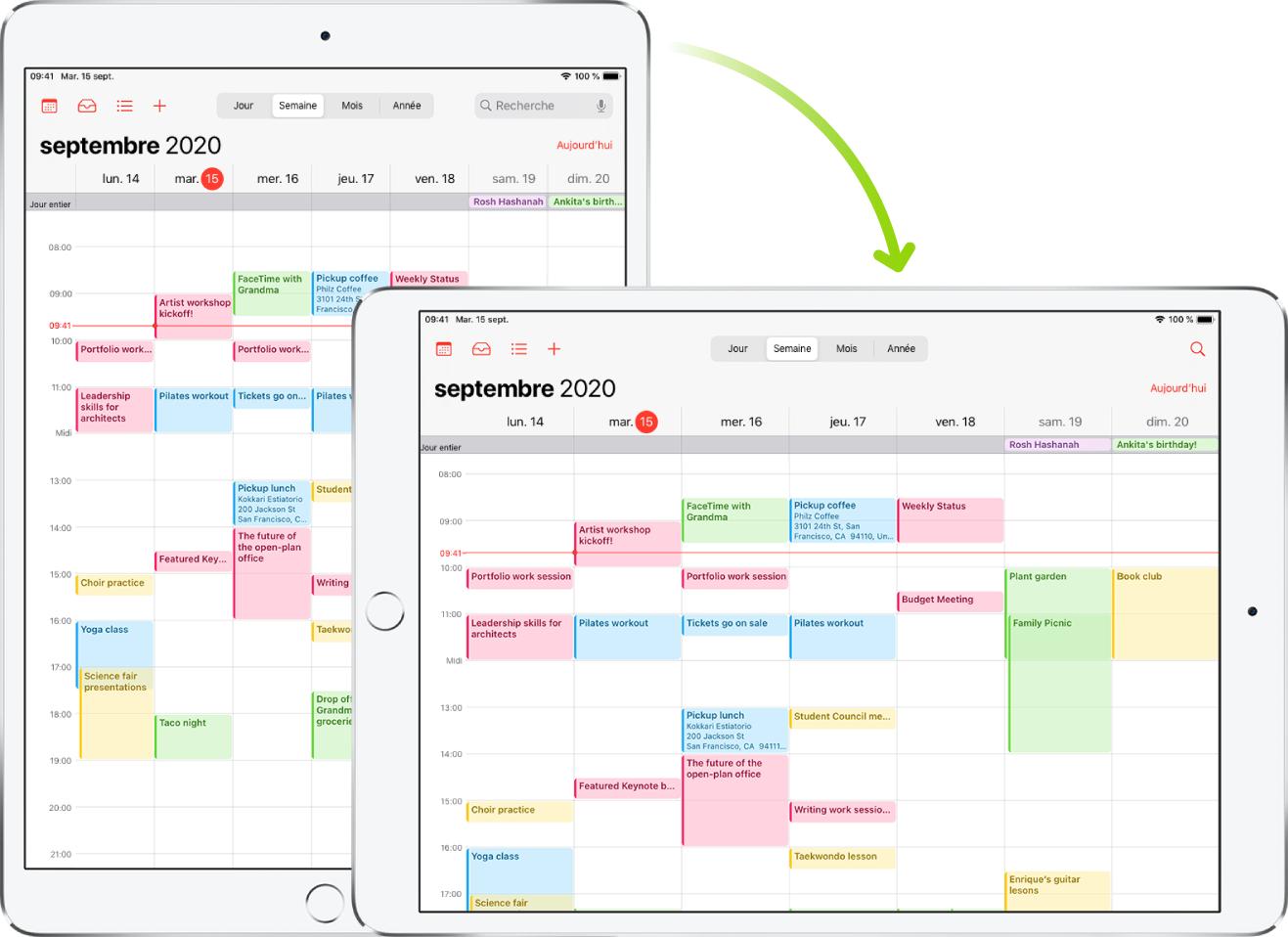 En arrière-plan, l'iPad présente un écran Calendrier en mode portrait; au premier plan, l'iPad est tourné et affiche l'écran Calendrier en mode paysage.