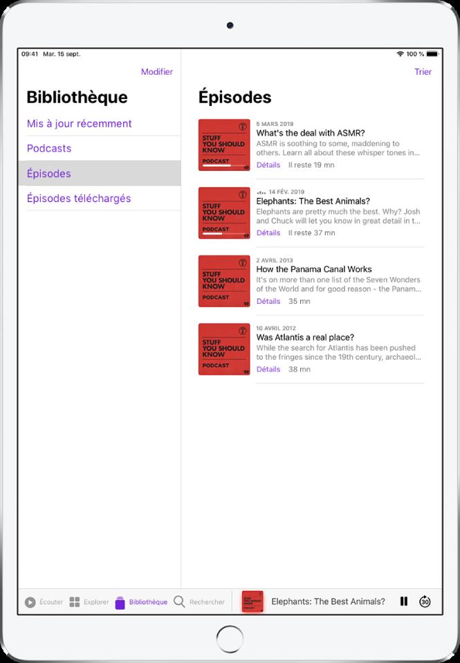 L'onglet Bibliothèque affichant les podcasts récemment mis à jour.