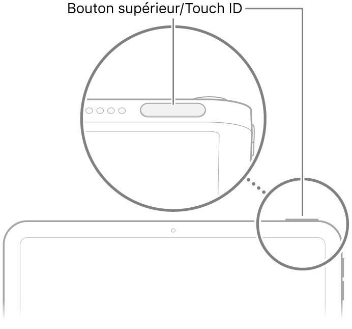 Le bouton supérieur/le capteur TouchID en haut de l'iPad.