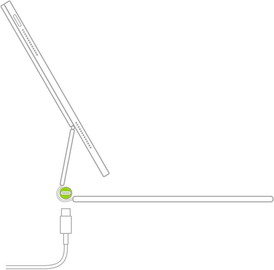 Een illustratie van de locatie van de USB-C-oplaadpoort linksonder aan het MagicKeyboard voor de iPad.