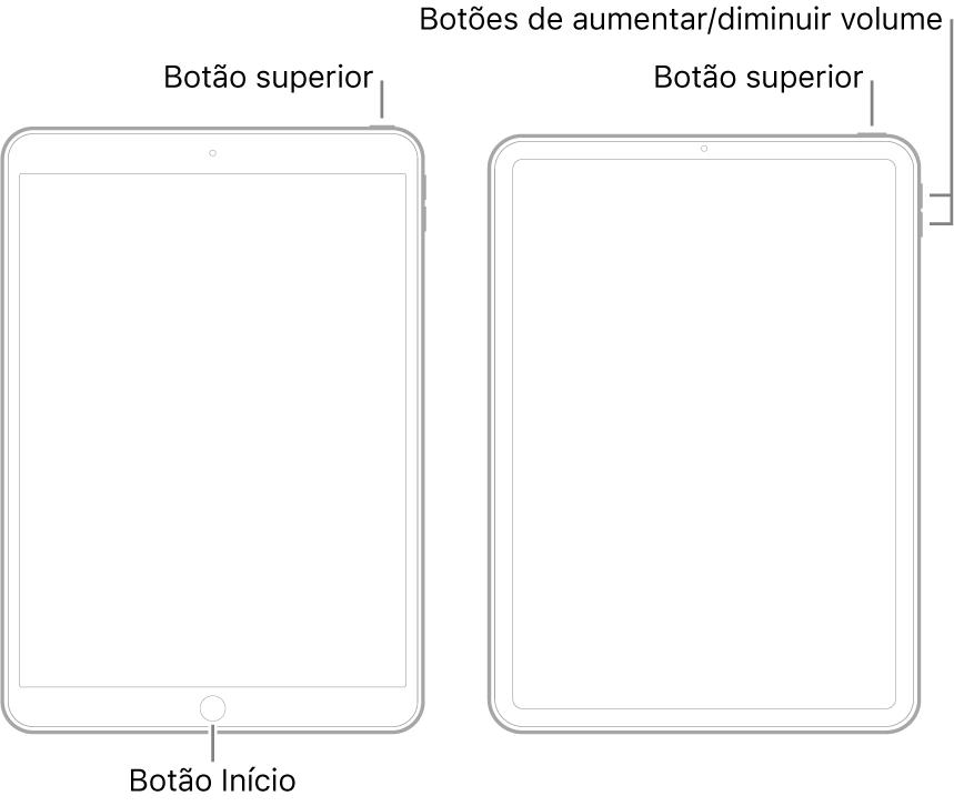 Ilustrações de dois modelos diferentes de iPad com as telas viradas para cima. A ilustração mais à a esquerda mostra um modelo com um botão de Início na parte inferior do dispositivo e um botão superior na borda superior direita do dispositivo. A ilustração mais à direita mostra um modelo sem botão de Início. Nesse dispositivo, os botões de aumentar e diminuir o volume são mostrados na borda direita do dispositivo, próximos à parte superior, e o botão superior é mostrado na borda superior direita do dispositivo.