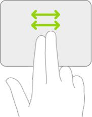 ภาพประกอบที่เป็นสัญลักษณ์ของคำสั่งนิ้วบนแทร็คแพดสำหรับการเลื่อนไปทางซ้ายและขวา