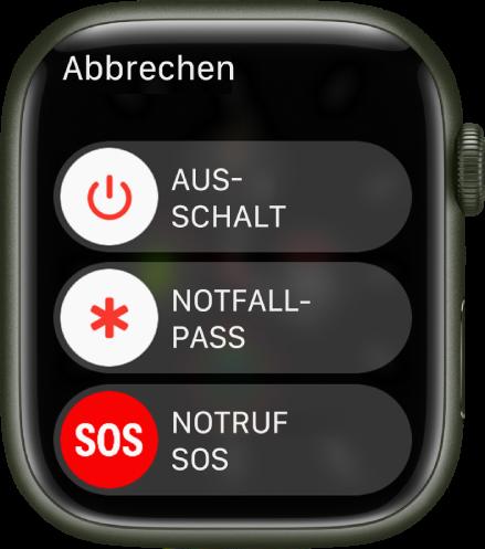 """Display der AppleWatch mit drei Reglern: """"Ausschalten"""", """"Notfallpass"""" und """"Notruf SOS""""."""