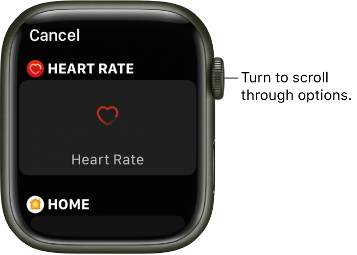 The customize screen for a watch face with the Heart Rate complication highlighted. Turn the Digital Crown to browse complications.