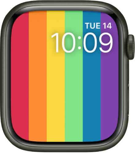 The Pride Digital watch face showing vertical rainbow stripes with the date and time at the top right.