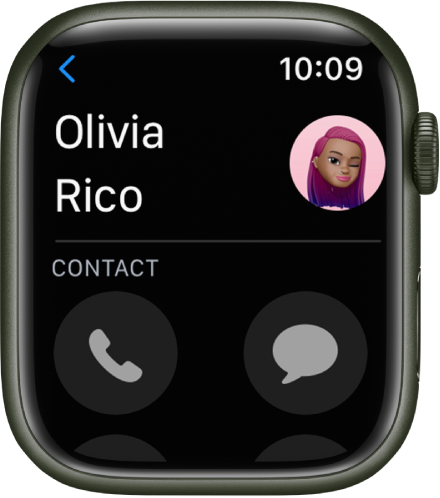 The Contacts app showing a contact. The contact's name is near the top left with their picture at the top right. Phone and Messages buttons appear below.
