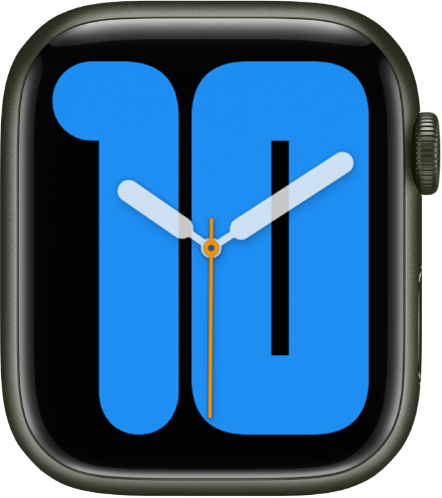 Numerals Mono watch face showing analog hands over a large number, indicating the hour.