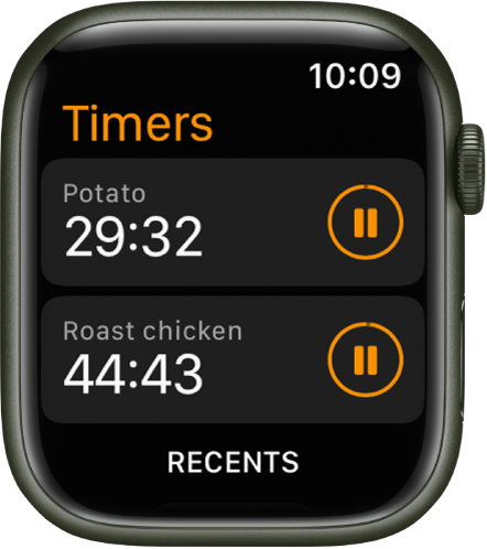 Two timers in the Timers app. Each timer shows the remaining time below the timer's name and a pause button to the right. A Recents button is at the bottom of the screen.