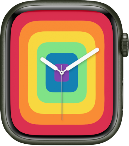 The Pride Analog watch face using the full-screen style.