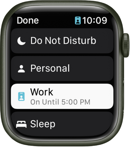 The Focus list shows Do Not Disturb, Personal, Work, and Sleep. The Work Focus is active.