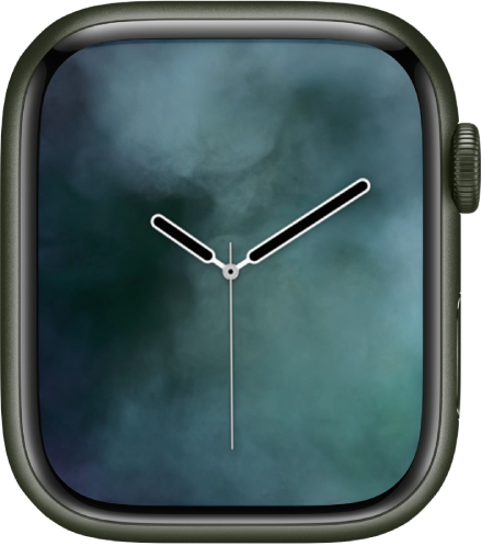 The Vapor watch face showing an analog clock in the middle and vapor around it.