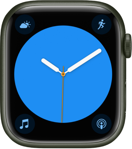 The Color watch face, where you can adjust the color of the watch face. It shows four complications: Weather Conditions at the top left, Workout at the top right, Music at the bottom left, and Podcasts at the bottom right.