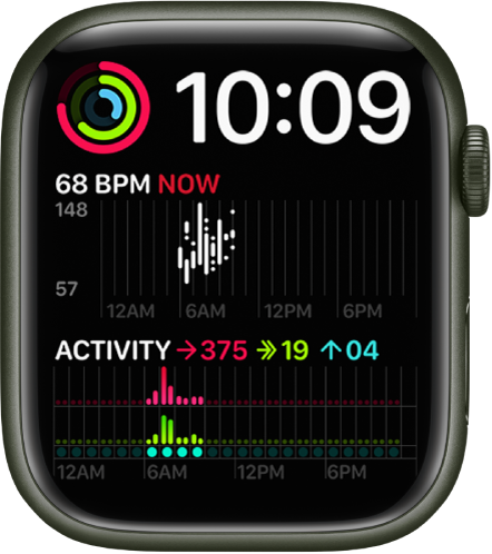 The Modular Duo watch face showing a digital clock near the top right, an Activity complication at the top left, a Heart Rate complication at the middle left, and an Activity complication at the bottom.