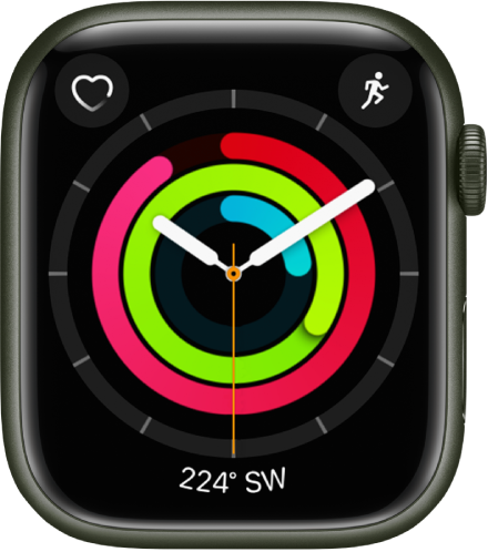 Activity Analog watch face showing the time as well as Move, Exercise, and Stand goal progress. There are also three complications: Heart Rate at the top left, Workout at the top right, and Compass at the bottom.