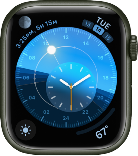 The Solar Dial watch face with a round dial that indicates the position of the sun. An inner dial displays the analog time. There are four complications shown: Moon at the top left, Date at the top right, Weather Conditions at the bottom left, and Weather Temperature at the bottom right.