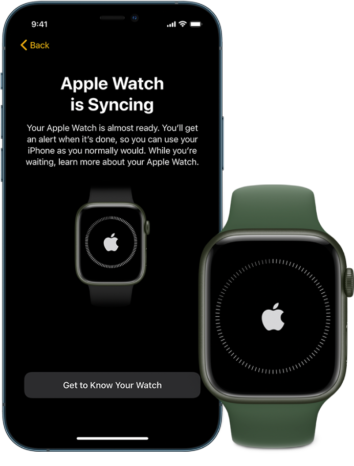 An iPhone and Apple Watch showing their syncing screens.