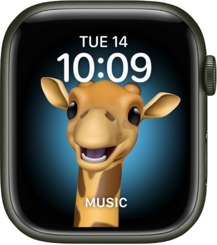 The Memoji watch face, where you can adjust the Memoji character and a bottom complication. Tap the display to animate the Memoji. The date and time are at the top and the Music complication is at the bottom.