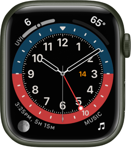 The GMT watch face, where you can adjust the face color. It shows four complications: UV Index at the top left, Temperature at the top right, Moon at the bottom left, and Music at the bottom right.