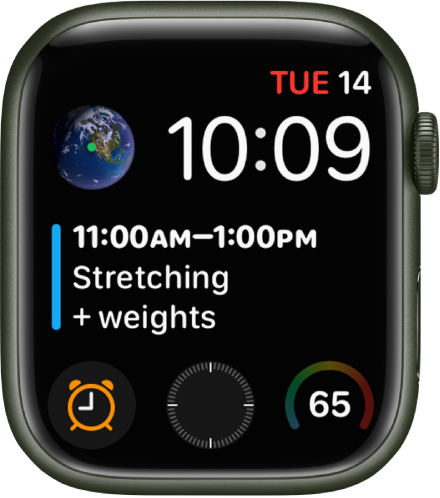 The Infograph Modular watch face showing multiple complications with the Earth complication at the top left, the Calendar Schedule complication spanning the middle of the watch face, and three subdial complications along the bottom: Alarms, Compass, and Weather Temperature.