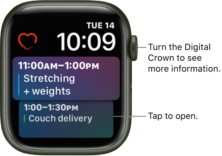 The Siri watch face showing a reminder and a calendar event. A Heart Rate complication is at the top-left of the screen. The date and time are at the top right. A Calendar Schedule complication is below, showing two events.