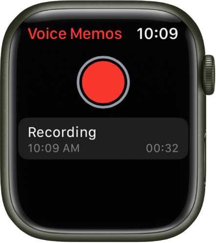 Apple Watch showing the Voice Memos screen. A red Record button appears near the top. A recorded memo appears below. The memo displays the time it was recorded and its length.