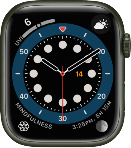 The Count Up watch face. It shows four complications: UV Index at the top left, Weather Conditions at the top right, Mindfulness at the bottom left, and Moon at the bottom right.