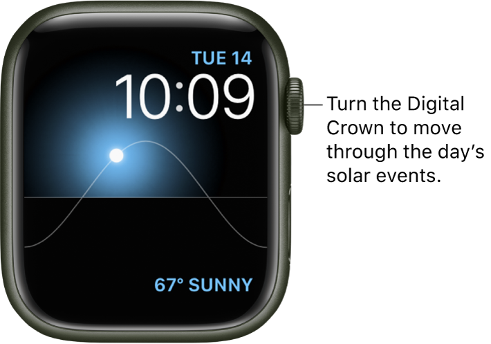 The Solar Graph watch face displays the day, date, and current time, which can't be modified. A Weather complication appears at the bottom right. Turn the Digital Crown to move the sun in the sky to dusk, dawn, zenith, sunset, and darkness.