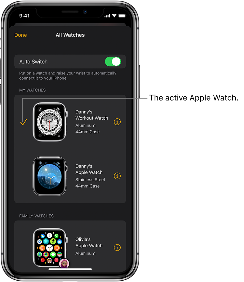 In the All Watches screen of the Apple Watch app, a checkmark shows the active Apple Watch.