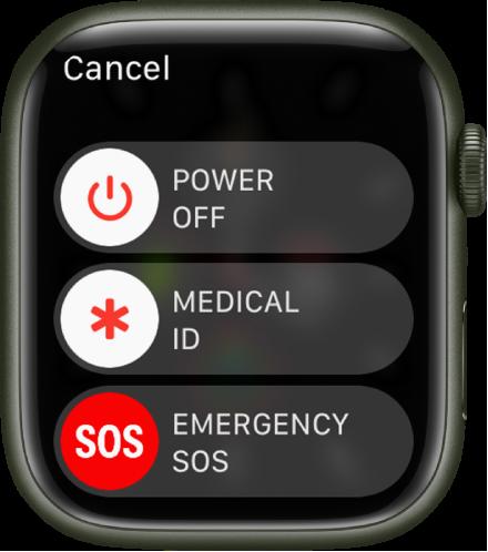 AppleWatchi kuva koos kolme liuguriga: Power Off, Medical ID ja Emergency SOS.