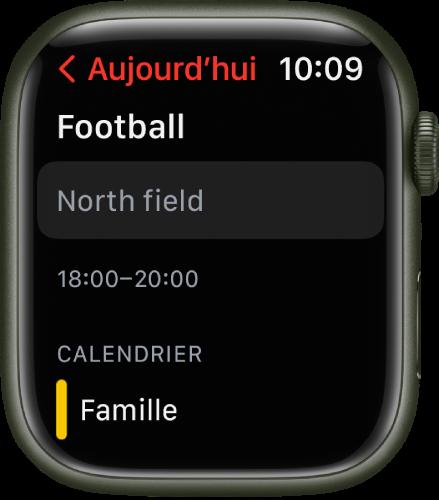 L'écran Calendrier affichant les détails d'un évènement de calendrier.