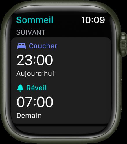 L'écran Sommeil affichant un programme de sommeil.