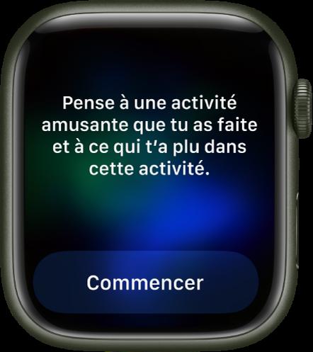 L'app «Pleine conscience» affiche une piste de réflexion: «Pense à une activité que tu as faite et à ce qui t'a plus dans cette activité». Un bouton Commencer se trouve en dessous.