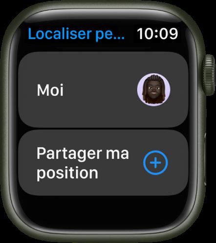 L'app Localiser des personnes affichant des entrées pour vous-même ainsi qu'un bouton «Partage ma position».