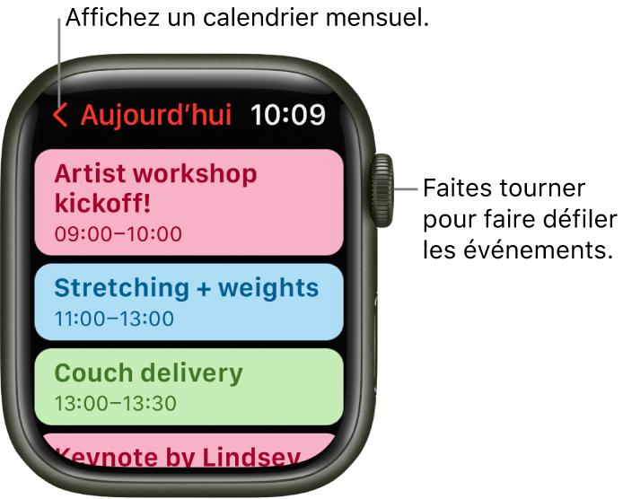 L'écran Calendrier affichant la liste des évènements du jour.