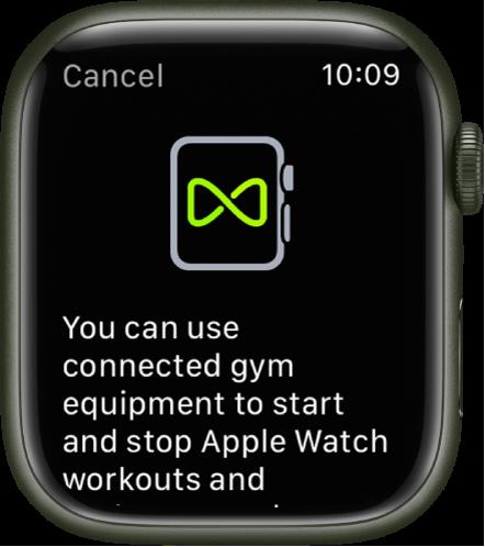 """Susiejimo ekranas, kuris pasirodo susiejus """"Apple Watch"""" su sporto įranga."""