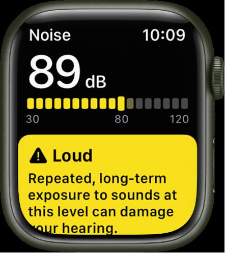 """Rodomas programos """"Noise"""" pranešimas apie 89 decibelų garso lygį. Toliau rodomas įspėjimas dėl ilgalaikio tokio lygio triukšmo poveikio."""
