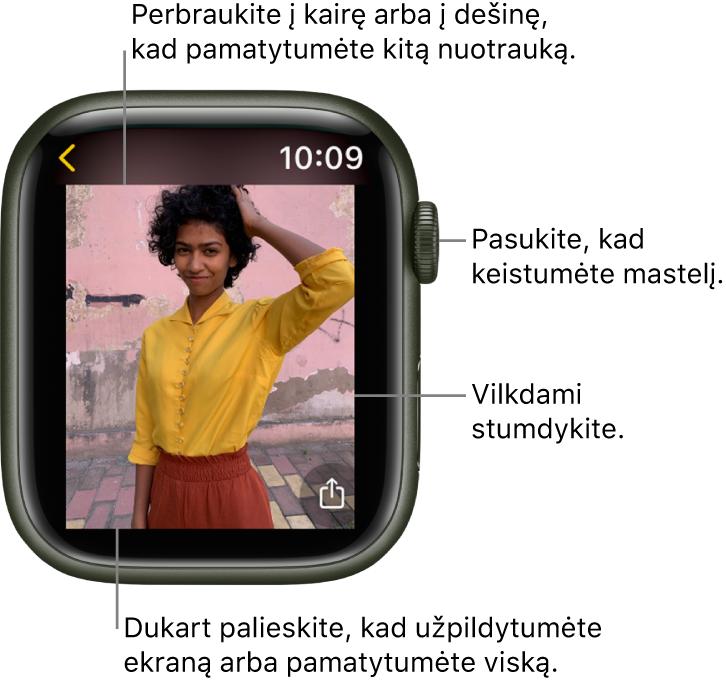 """Peržiūrėdami nuotrauką pasukite """"DigitalCrown"""", kad keistumėte mastelį, vilkite nuotraukos rodinį arba dukart palieskite, kad perjungtumėte visos nuotraukos arba viso ekrano režimą. Perbraukite į kairę arba į dešinę, kad pamatytumėte tolesnę nuotrauką. Palieskite mygtuką """"Watch Face"""", esantį ekrano apačioje kairėje, norėdami sukurti laikrodžio ciferblatą iš nuotraukos."""