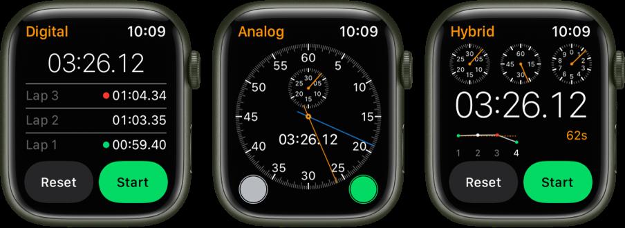 「碼錶」App 中的三種碼錶:帶有計圈器的數位式碼錶、指針式碼錶,以及同時顯示指針和數位形式的混合式碼錶。每個手錶都有開始和重置按鈕。