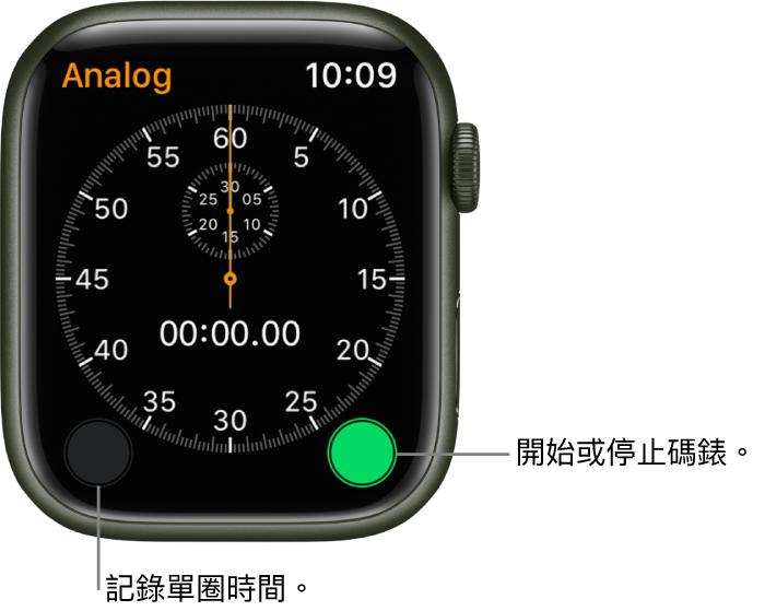 指針式碼錶畫面。點一下右側按鈕來開始和停止,以及左側按鈕來記錄分圈時間。
