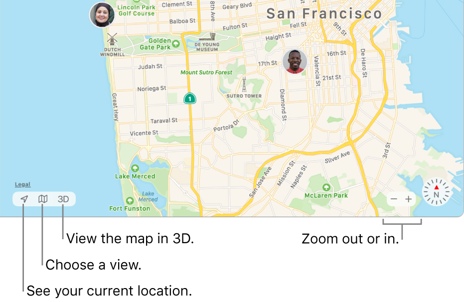 View of the Find My window showing people's locations on a map. In the lower-left corner, use buttons to see your current location, choose a view, and view the map in 3D. In the lower-right corner, use the zoom buttons to zoom in or out on the map.