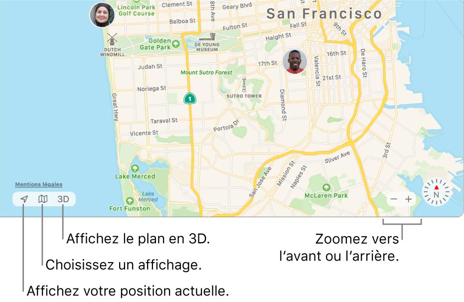 Affichage de la fenêtre Localiser montrant la position de personnes sur un plan. En bas à gauche, des boutons vous servent à voir votre position actuelle, choisir une présentation et afficher le plan en  3D. En bas à droite, utilisez les boutons de zoom pour effectuer un zoom avant ou arrière sur le plan.