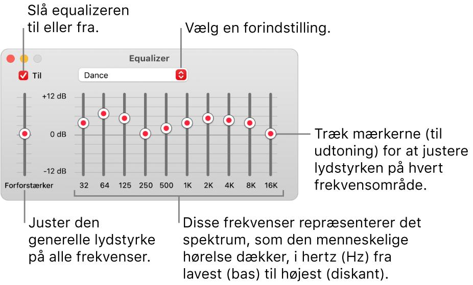 Equalizer-vinduet: Afkrydsningsfeltet, der bruges til at slå Musik-equalizeren til, er anbragt i øverste venstre hjørne. Ved siden af findes lokalmenuen med forindstillinger til equalizeren. Yderst til venstre kan du justere den generelle lydstyrke med forforstærkeren Under forindstillingerne til equalizeren kan du justere lydniveauet på de forskellige frekvensområder, der repræsenterer det spektrum fra det laveste til det højeste, som det menneskelige øre kan opfatte.