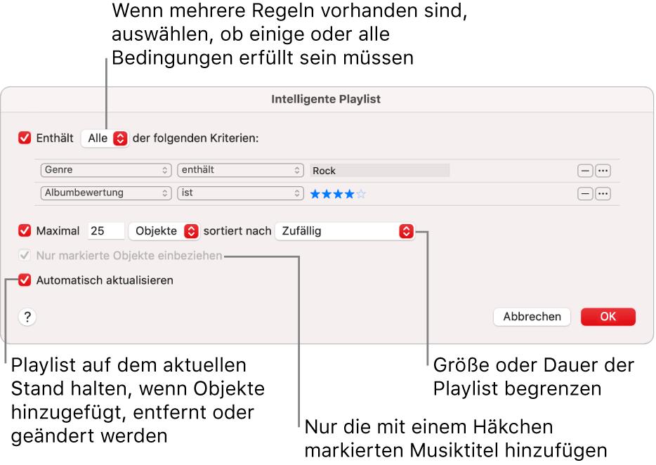"""Das Dialogfenster """"Intelligente Playlist"""": Wähle oben links """"Enthält"""" und gib die Kriterien für die Playlist an (etwa Genre oder Wertung). Durch Klicken auf die Taste """"Hinzufügen"""" oder """"Entfernen"""" oben rechts kannst du weitere Regeln hinzufügen oder Regeln entfernen. Im unteren Bereich des Dialogfensters kannst du verschiedene Optionen auswählen, um z.B. die Größe oder Dauer der Playlist zu beschränken, um nur solche Titel aufzunehmen, die markiert sind, oder um die App """"Musik"""" die Playlist ändern zu lassen, wenn sich Objekte in deiner Mediathek ändern."""