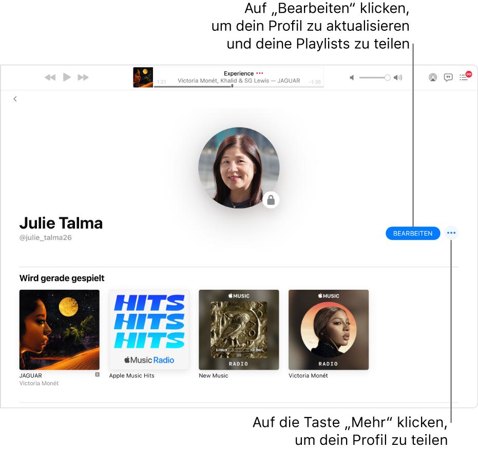 """Die Profilseite in Apple Music: Klicke auf der rechten Fensterseite auf """"Bearbeiten"""", um festzulegen, wer dir folgen kann. Klicke rechts neben """"Bearbeiten"""" auf die Taste """"Mehr"""", um deine Musik zu teilen."""