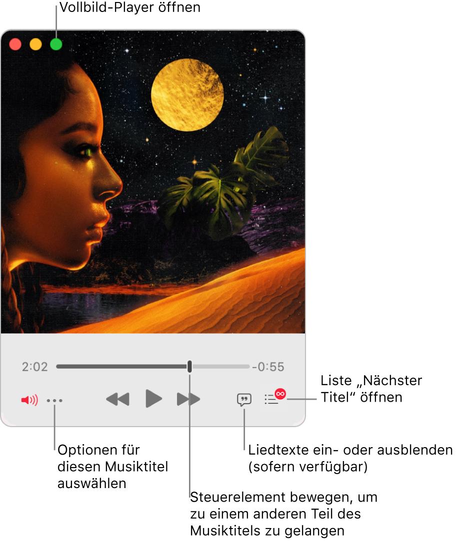 """Der erweiterte MiniPlayer mit Steuerelementen für den gerade abgespielten Titel. Oben links befindet sich die grüne Taste, mit der der Vollbild-Player geöffnet wurde. Unten im Fenster ist ein Regler den bewegen kannst, um zu einem anderen Teil des Titel zu gelangen. Unter dem Regler befindet sich links die Taste """"Mehr"""", über die du Darstellungsoptionen und andere Optionen für die gerade abgespielten Titel auswählen kannst. Ganz rechts unter dem Regler sind zwei Tasten: die Taste """"Liedtext"""" zum Ein- oder Ausblenden von vorhandenen Liedtexten und die Taste """"Nächster Titel"""", um zu sehen, welche Titel als Nächstes gespielt werden."""
