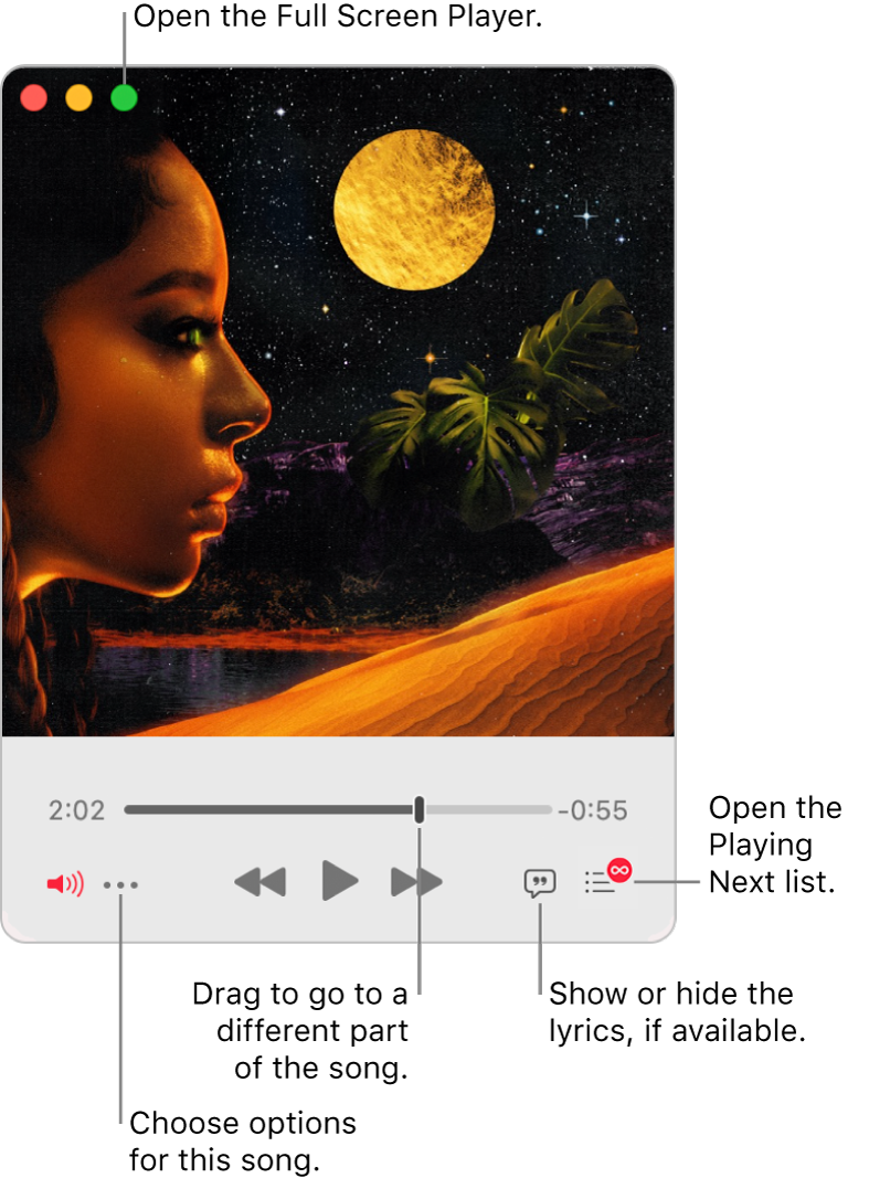 Expanded MiniPlayer showing the controls for the song that's playing. In the top-left corner is the green button, used to open the Full Screen Player. In the bottom of the window is a slider that you can drag to go to a different part of the song. Under the slider on the left side is the More button, where you can choose view options and other options for the song that's playing. On the far right under the slider are two buttons—the Lyrics button to show or hide available lyrics, and the Playing Next button to see what's playing next.